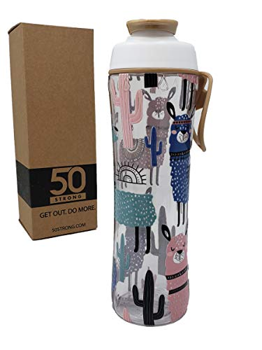 50 Strong BPA Free Gym Water Bottle with Ice Guard Flip Top Cap & Carry Loop - Cute Designer Prints - Perfect for Men, Women, Sports & Workout - 24 oz. - Made in USA (Llama, 24 oz.)