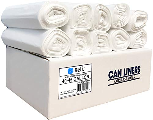 Reli. Trash Bags, 40-45 Gallon (250 Count) (Clear) - Regular Thickness - Easy Grab Rolls - Can Liners, Garbage Bags with 40 Gallon (40 Gal) to 45 Gallon (45 Gal) Capacity by Reli. (Image #7)