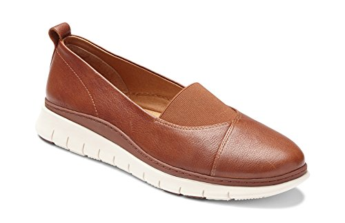 Vionic Women's Linden Slip-on - Ladies Walking Loafer with Concealed Orthotic Support Mocha 7.5 W US