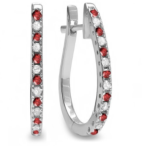 Dazzlingrock Collection 14K Round Ruby & White Diamond Ladies Hoop Earrings, White ()