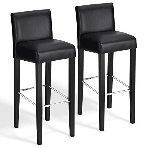 (COSTWAY 40'' Bar Stool Modern Contemporary Bar Height Backed Padded Seat Pub Bistro Kitchen Dining Side Chair Barstools with Solid Wood Legs (Black, 2) )