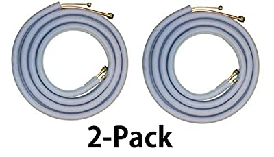 "Line Set 12000/18000 (2-Pack) BTU Mini Split Air Conditioner (1/4"" X 1/2"") - All Copper (16 Ft) with Insulation - Flared Fittings/Quick Connect"