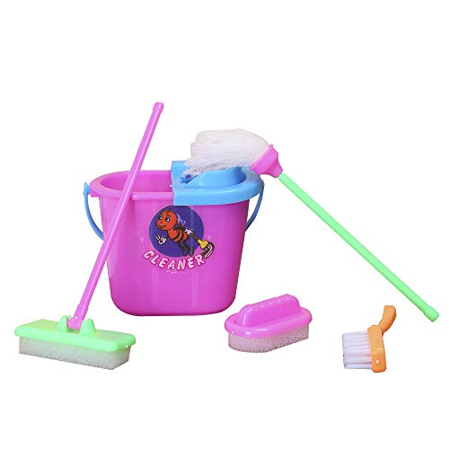 E-TING Miniature Mop Dust Pan, Brush, Broom, Bucket Doll Housework Cleaning Set Dollhouse Garden Accessories for Dolls
