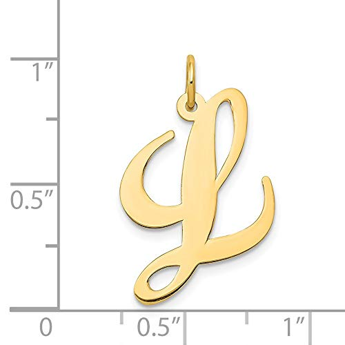14k Yellow Gold Solid Polished Large Fancy Script Initial L Charm - Measures 21.1x20mm by JewelryWeb (Image #1)