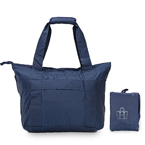 Price comparison product image Premium Quality Must-Have Packable Foldable Travel Waterproof Tote Bag (Navy Blue)
