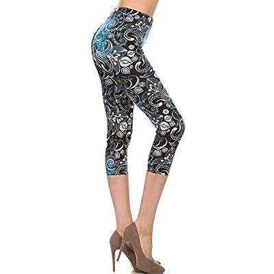 Leggings Depot Capri REG/Plus Fashion Print Leggings Capri BAT1: Clothing
