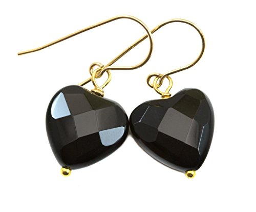 14k Yellow Gold Filled Onyx Earrings Black Faceted Heart Shape Simple Everyday Drops 1.2