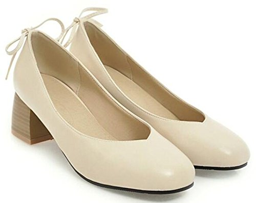 IDIFU Womens Elegant Square Toe Mid Chunky Heels Slip On Low Top Pumps Shoes With Bows Beige ZCXWKHm