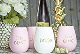 10 Piece Set of I Do Crew and Bride Silicone Wine Cups, Perfect for Bachelorette Parties, Weddings, and Bridal Showers (Pink)