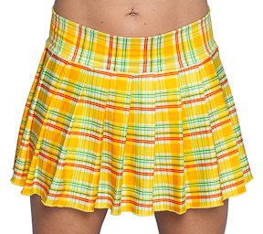 Amazon.com: Yellow Sexy Schoolgirl Mini Skirt in Stretchy Yellow ...