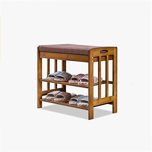 FEIFEI ベンチトップとシートクッション、廊下靴収納ベンチオーガナイザーを上にして竹靴ラックの靴ベンチ (サイズ さいず : 57*30*50cm)