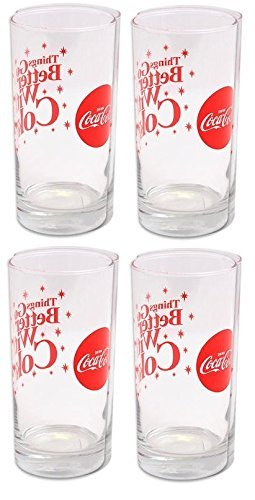 (Libbey Coca Cola Sparkle Cooler Glass Tumbler-16oz Set of 4)
