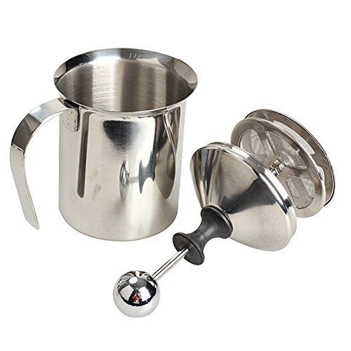 Stainless Steel Pump Milk Frothers Creamer Foam Cappuccino 400 ml / 800 ml Coffee Double Mesh Froth Screen Silver (27 oz.(800ml)) by Seluna