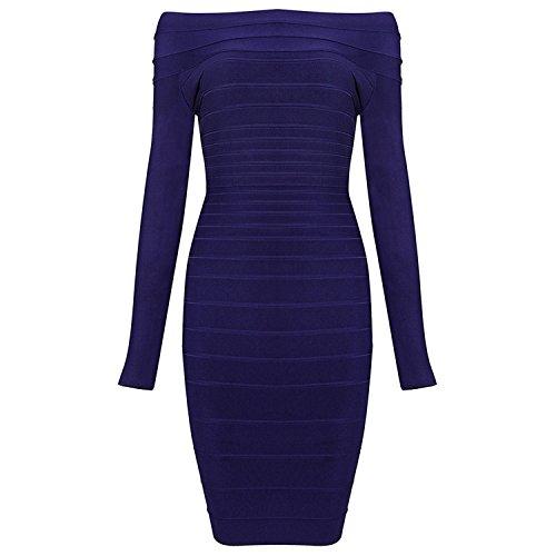 - Eault Elegant Bandage dress autumn /winter dresses women's new long-sleeved dress star with the word shoulder Slim package hip dress BlueXS Novelty