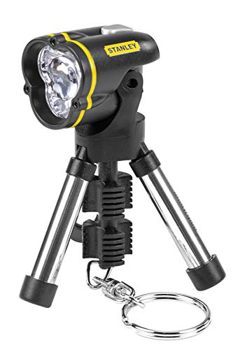 (Stanley 95-113 Mini Tripod Keychain LED Flashlight, Color May Vary (Plastic or Chrome Finish feets))