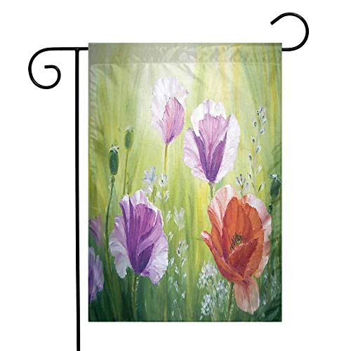 Mannwarehouse Flower Garden Flag Sunset Hill with Poppy Dandelion and Daisy Flowers in Fields Artistic Premium Material W12 x L18 Purple Green and Orange