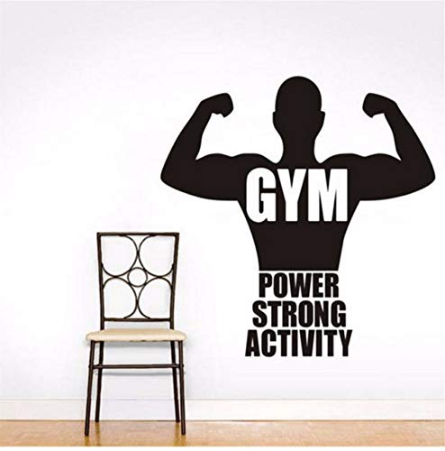 LSFHB Quote Power Strong Activity Vinyl Removable Wall Sticker Muscle Man Wall Decal for Boy Rooms Art Mural Decor for Gym 44X44Cm
