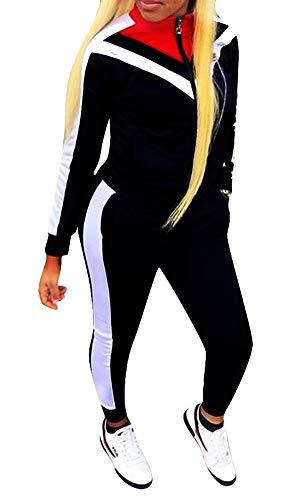Women's Color Block Tracksuit Set Zipper Jacket and Pants 2 Piece Sports Jog Set