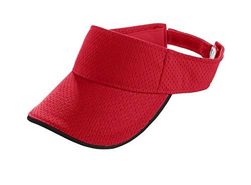 Visor Sun Mesh (Augusta Sportswear Kids' Athletic MESH Two-Color Visor OS Red/Black)