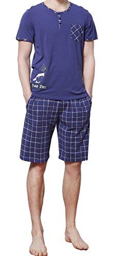HACAI Men's Pajama Set Soft Cotton Plaid Short Sleeve Summer Sleepwear(S-XXL) Blue XXL