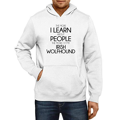 Idakoos The More I Learn About People The More I Love My Irish Wolfhound Hoodie L White