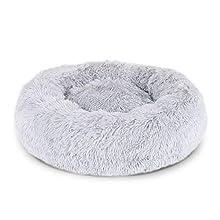 Dibea Cama Perros Redonda cojín Gatos sofá para Perros Donut Ø 60 cm dimensión Exterior (L) Gris Claro