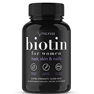 Vitalfuse Biotin 10000mcg Hair Growth Supplements for Women - for Healthy Hair Skin Nails Vitamins for Women - 60 Vegetarian Capsules