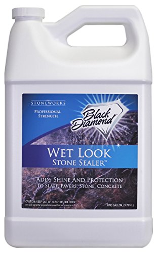 Black Patio Brick - Black Diamond Stoneworks Wet Look Natural Stone Sealer Provides Durable Gloss and Protection to: Slate, Concrete, Brick, Sandstone, Driveways, Garage Floors. Interior or Exterior. 1-Gallon.