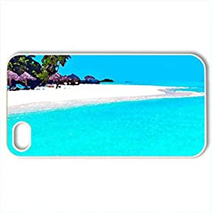 Paradise - Case Cover for iPhone 4 and 4s (Beaches Series, Watercolor style, White) by lolosakes