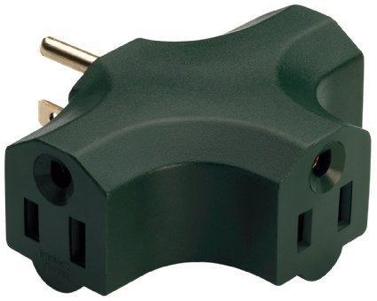 haped ) with Plug Locations On The left, Right, and Middle For Behind Furniture – Wall Outlet Splitter Triple Prong Wall Plug Adapter– Green Color (UL Listed) - By Katzco (Blade Flat Plug In Adapters)