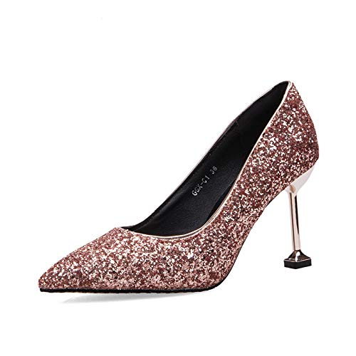 Shoes alto Yukun tacón Autumn Stiletto Stiletto de Sequins zapatos and Champagne Shoes Spring 1n4Fxnt
