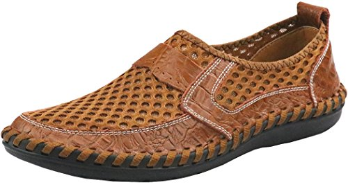 Forucreate Men's Brown Loafers Comfortable Walking Shoes Mesh Driving Shoes (Brown 45)