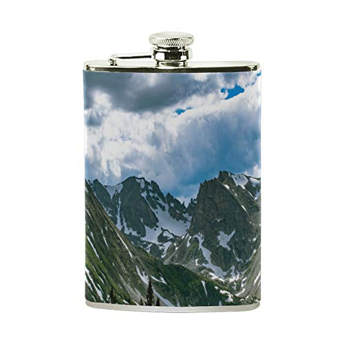 - Hip Flask 8 Oz Cloud Daylight Wallpaper Stainless Steel & PU Leather Portable Liquor Flask Pocket Flagon Wine Pot for Men/Women