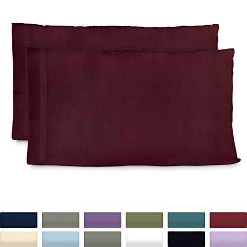Cosy House Collection Premium Bamboo Pillowcases - Standard, Burgundy Pillow Case Set of 2 - Ultra Soft & Cool Hypoallergenic Blend from Natural Bamboo Fiber