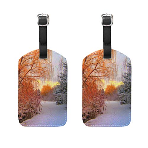 MUOOUM Red Tree White Snow Sundown Luggage Tages Travel Labels Suitcase Bag Tag with Name Address Cards 2 Pcs Set -