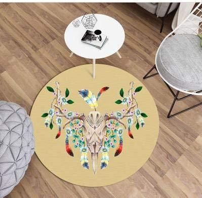 80cm JIELUG Tapis Rond Fille Nordic Maison Dessin Animé Enfants Chambre Tapis Salon Canapé Ordinateur Chaise Coussin Ceinture Décorative