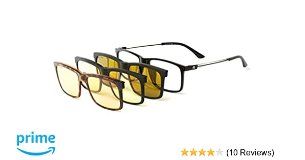 d655af3f4c2b Amazon.com  Eagle Eyes 4in1 SuperSight System - The Magnetic Clip-on Glasses  - Computer Lens Based Frame Polarized Sunglass Clip-on Night Driving ...
