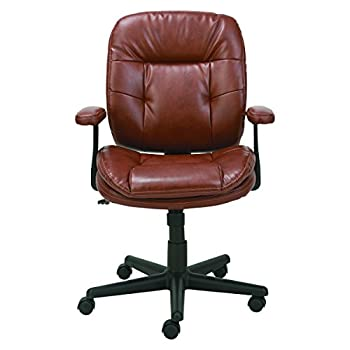 Oif St4859 Swiveltilt Leather Task Chair, Fixed T-bar Arms, Chestnut Brown 0