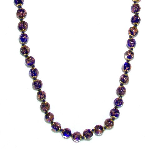 "Just Give Me Jewels Genuine Venice Murano Sommerso Aventurina Glass Bead Strand Necklace In Blue 16+2"" Extender"