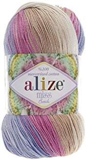 100% algodón mercerizado hilo Alize Miss Batik CROCHET de hilo para tejer 4skn 200 gr: Amazon.es: Juguetes y juegos