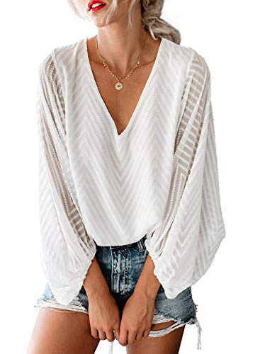 AlvaQ Womens Summer Autumn Mesh Balloon Long Sleeve V-Neck Plain Blouses and Tops Loose Shirts Fashion 2019 Plus Size White 2X (Best Plus Size Fashion)