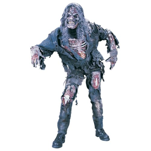 Zombie Halloween Costumes (FunWorld Men's Complete 3D Zombie Costume, Grey, One Size)