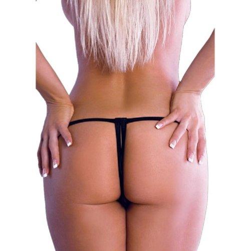 BODYZONE UN005BK Crotchless Lace Thong