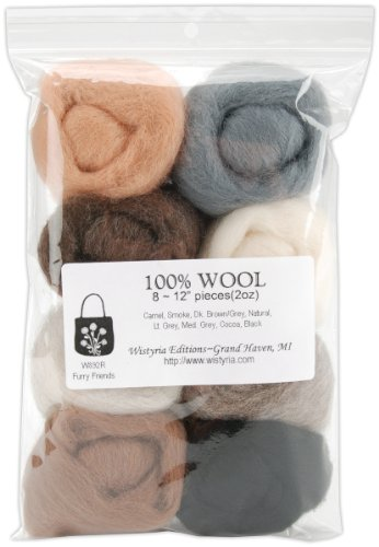 "12"" Wool Roving 8-Pack: Furry Friends (2oz)"