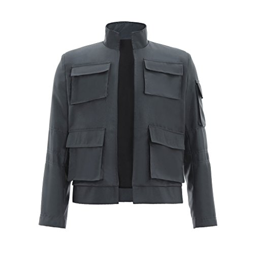 CosplayDiy Men's Jacket for Han Solo Cosplay Gray