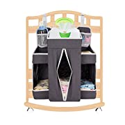Biubee Baby Large Diaper Nursery Hanging Organizer - Changing Table Organizer Diaper Caddy Storage Fits any Size Rails(dark grey)