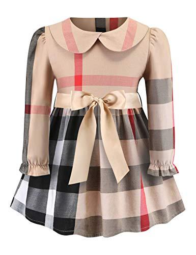 Aivdoirla Princess Dress Baby Girls Plaid Dress Long Sleeve Cute Party Playwear (Beige, ()
