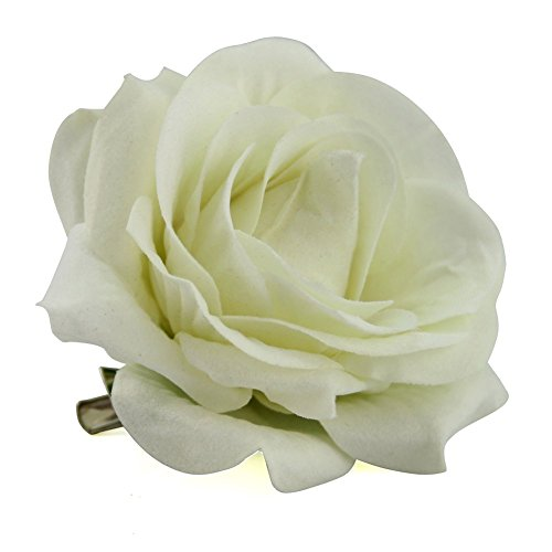 QtGirl Fabric Rose Hair Clips Flower Brooch for Women Teens at Party Ball Wedding (Creamy white)