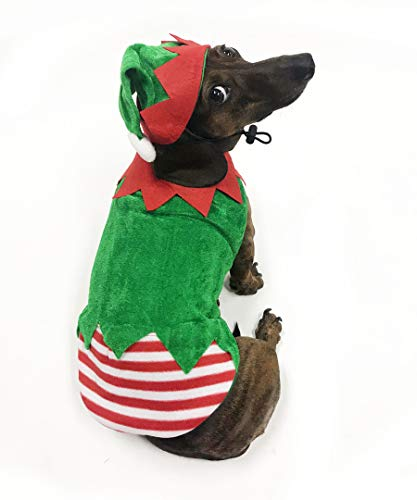 Midlee Small Dog Elf Costume with Hat (Large)