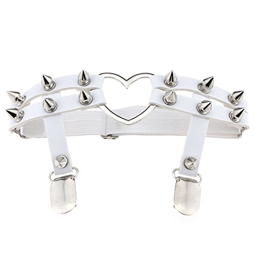 bjduck99 Women Fashion Punk Heart Rivet Gothic Harajuku Studded Heart Garters Leg Ring (Heart Lock Belt)